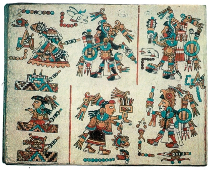 Exemple de codex Mixtèque, Oaxaca, Mexique