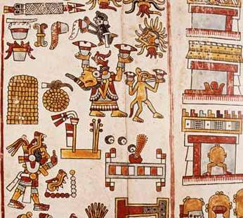 Exemple de codex Mixtèque de la periode Postclassique de Oaxaca, Mexique
