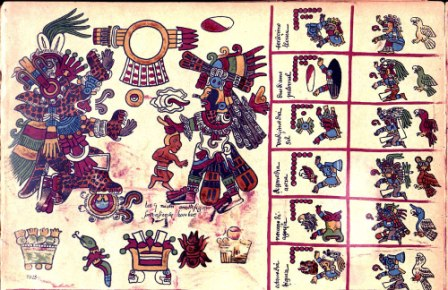 Exemple de codex Mixtèque Postclassique. Oaxaca, Mexique